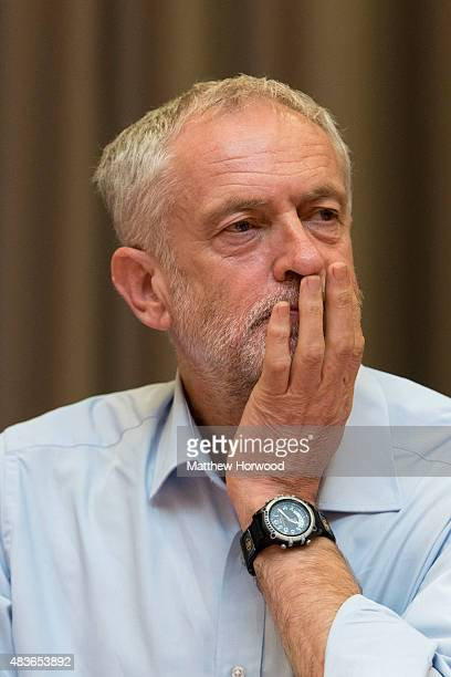 Labour leadership candidate Jeremy Corbyn attends a rally at the Mercure Holland house hotel on August 11 2015 in Cardiff Wales Earlier he addressed...