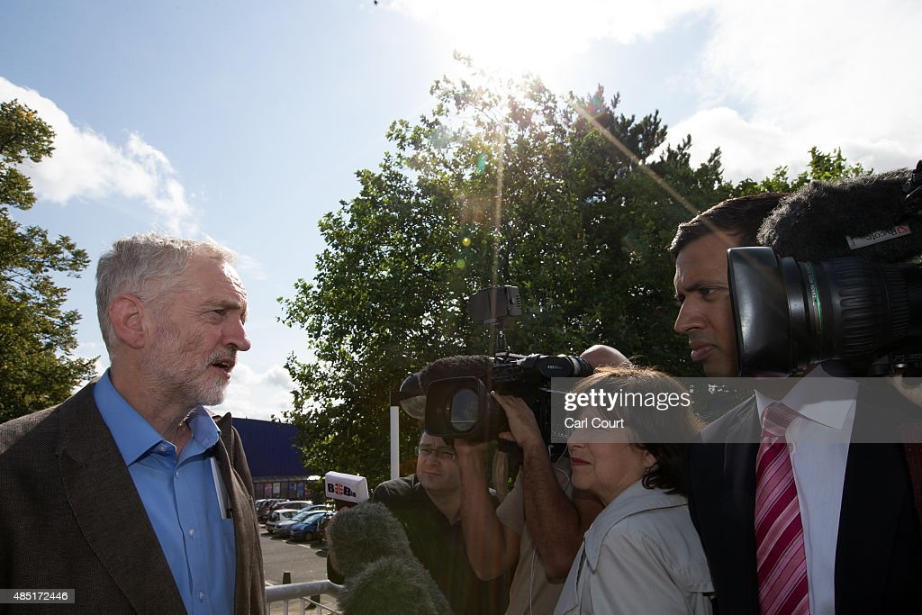 Labour leadership candidate Jeremy Corbyn speaks to the media as he leaves a radio hustings on August 25 2015 in Stevenage England Candidates are...