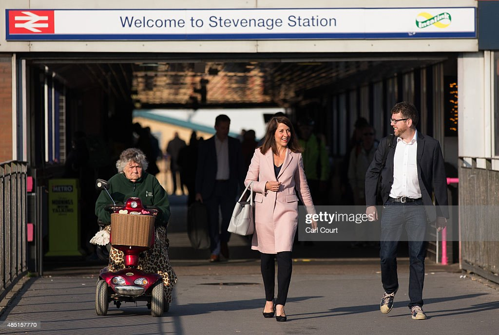Labour leadership candidate Liz Kendall arrives to take part in a radio hustings on August 25 2015 in Stevenage England Candidates are continuing to...