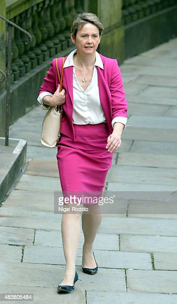 Labour leadership candidate Yvette Cooper arrives for a meeting with local party members at the Library on August 13 2015 in Bolton England Cooper...