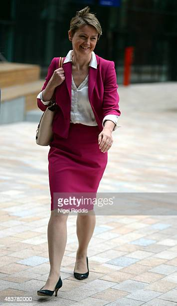 Labour leadership candidate Yvette Cooper arrives to give a speech on the future of the Labour party at HOME on August 13 2015 in Manchester England...