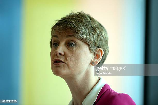 Labour leadership candidate Yvette Cooper gives a speech on the future of the Labour party at HOME on August 13 2015 in Manchester England Cooper...