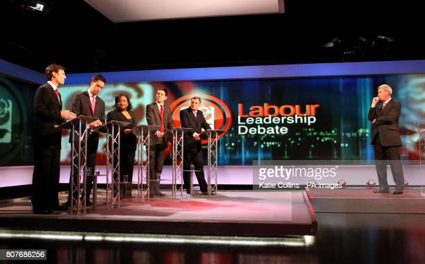 Labour leadership candidates Andy Burnham Ed Miliband Diane Abbott David Miliband and Ed Balls with Jeremy Paxman during the Labour Leadership debate...
