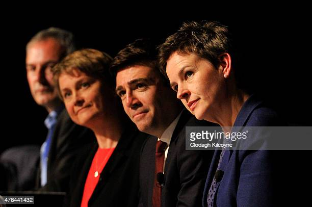 Labour leadership candidates Yvette Cooper Andy Burnham and Mary Creagh on stage at the Labour leadership hustings in Citywest hotel on June 9 2015...
