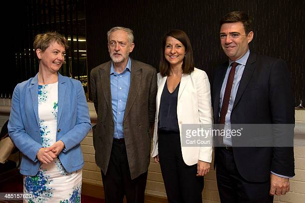 Labour leadership candidates Yvette Cooper Jeremy Corbyn Liz Kendall and Andy Burnham pose for a photograph ahead of a radio hustings on August 25...