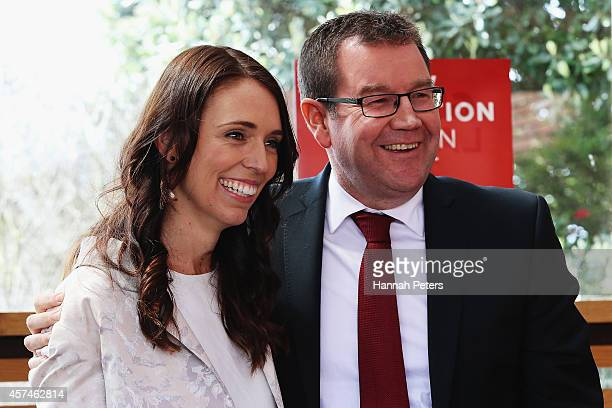 Labour leadership hopeful Grant Robertson stands with Jacinda Ardern at his Labour Party leadership campaign launch at Kings Arms Pub on October 19...