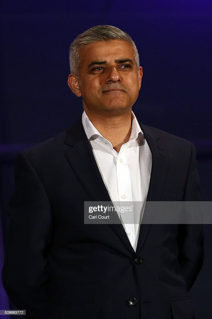 Labour mayoral candidate Sadiq Khan looks on as he is announced as London mayor following local elections, on May 07, 2016 in London, England. After months of campaigning Mr Khan won the London mayoral race with 56.8 percent of the vote beating Conservative Party candidate Zac Goldsmith into second place.