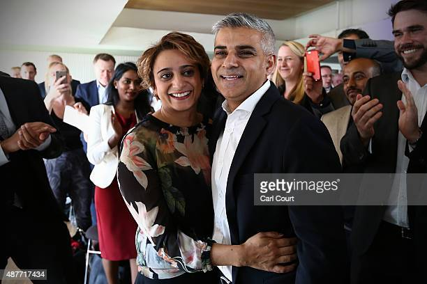 Labour Member of Parliament for Tooting and London mayoral candidate Sadiq Khan is congratulated by his wife Saadiya after winning the contest to...