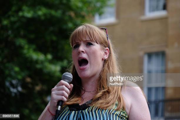 Labour MP Angela Rayner speaks to the crowd during a rally against coalition goverment in London UK on 17 June 2017 Over a thousand people gather...