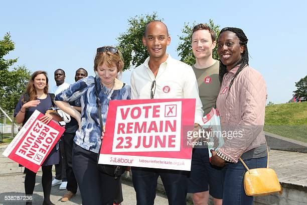 Labour MP Chuka Umunna and Harriet Harmon campaign for the Labour IN campaign on June 05 2016 in London England The campaign is hoping to persuade...