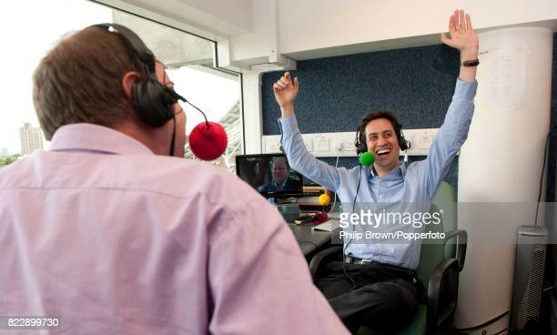 Labour MP Ed Miliband reacts during his interview with Jonathan Agnew on Test Match Special in the lunch interval of the 3rd day of the 1st Test...