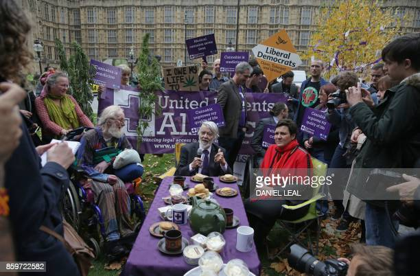 Labour MP for Newport West Paul Flynn and Labour MP for Gower Tonia Antoniazzi attend a 'Tea Party' organised by the United Patients Alliance with...