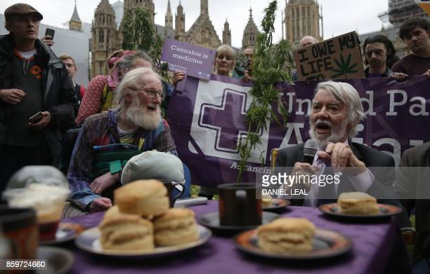 Labour MP for Newport West Paul Flynn speaks during a 'Tea Party' organised by the United Patients Alliance with food and drink products containing...