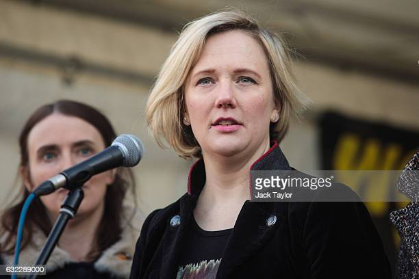 Labour MP for Walthamstow Stella Creasy speaks in Trafalgar Square during the Women's March on January 21 2017 in London England The Women's March...