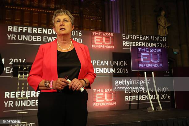 Labour MP Gisela Stuart and cochair of Vote LEAVE talks to the media before the final voting results are announced forecasting LEAVE winning the EU...