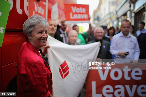 Labour MP Gisela Stuart at the Cap N Gown pub to take part in a QA on May 16 2016 in Worcester England Boris Johnson and the Vote Leave campaign are...