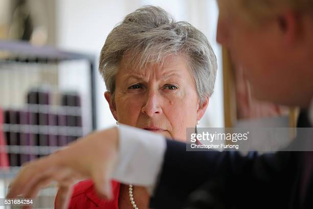 Labour MP Gisela Stuart looks on as Boris Johnson the former Mayor of London addresses workers during a visit to David Nieper Ltd on May 16 2016 in...
