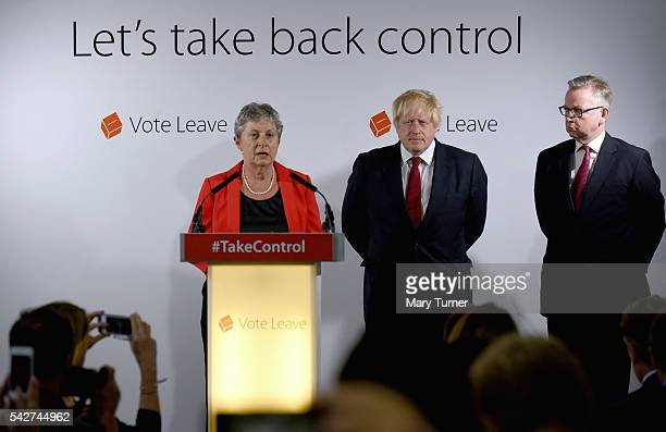 Labour MP Gisela Stuart speaks following the results of the EU referendum as Conservative MP Boris Johnson and Justice Secretary Michael Gove listen...