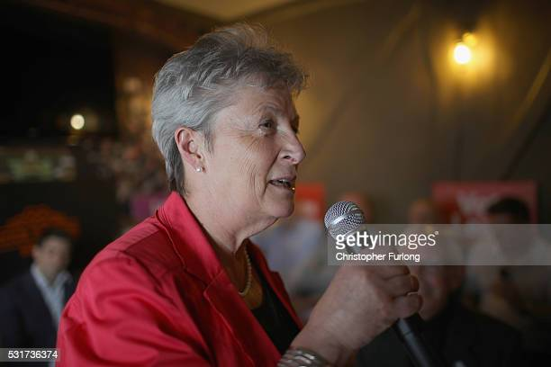 Labour MP Gisela Stuart takes part in a QA at the Cap N Gown pub on May 16 2016 in Worcester England Boris Johnson and the Vote Leave campaign are...