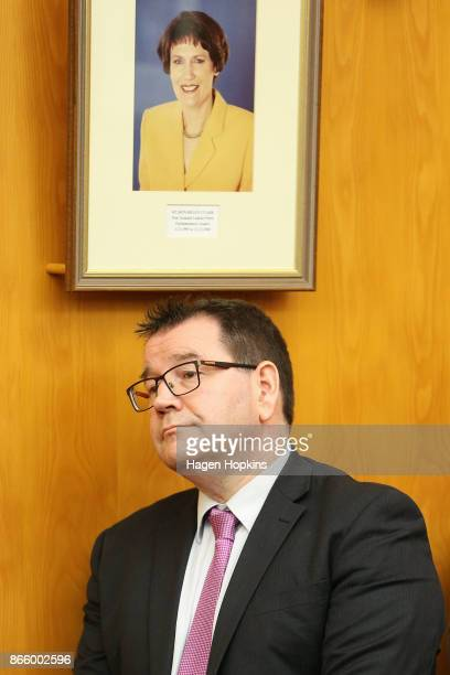 Labour MP Grant Robertson looks on under a photo of former Labour Prime Minister Helen Clark during a ministerial portfolio announcement on October...