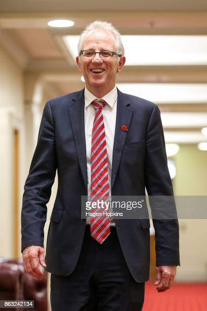 Labour MP Greg O'Connor arrives at a caucus meeting at Parliament on October 20 2017 in Wellington New Zealand After weeks of negotiations New...