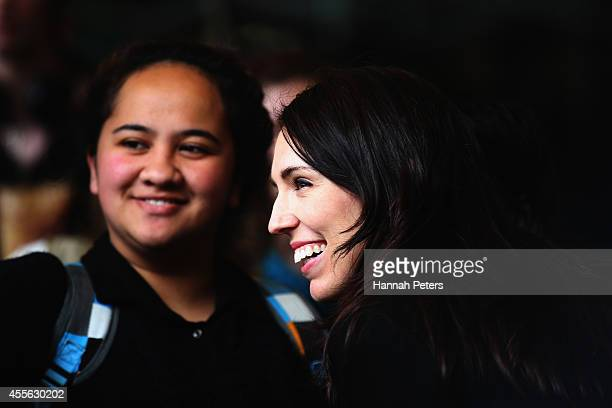 Labour MP Jacinda Ardern meets students at Auckland University during the last two days of the election campaign on September 18 2014 in Auckland New...