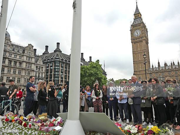 Labour MP John Cryer and other Labour Party members lay tributes to Jo Cox on Parliament Square on June 17 2016 in London United Kingdom Jo Cox...