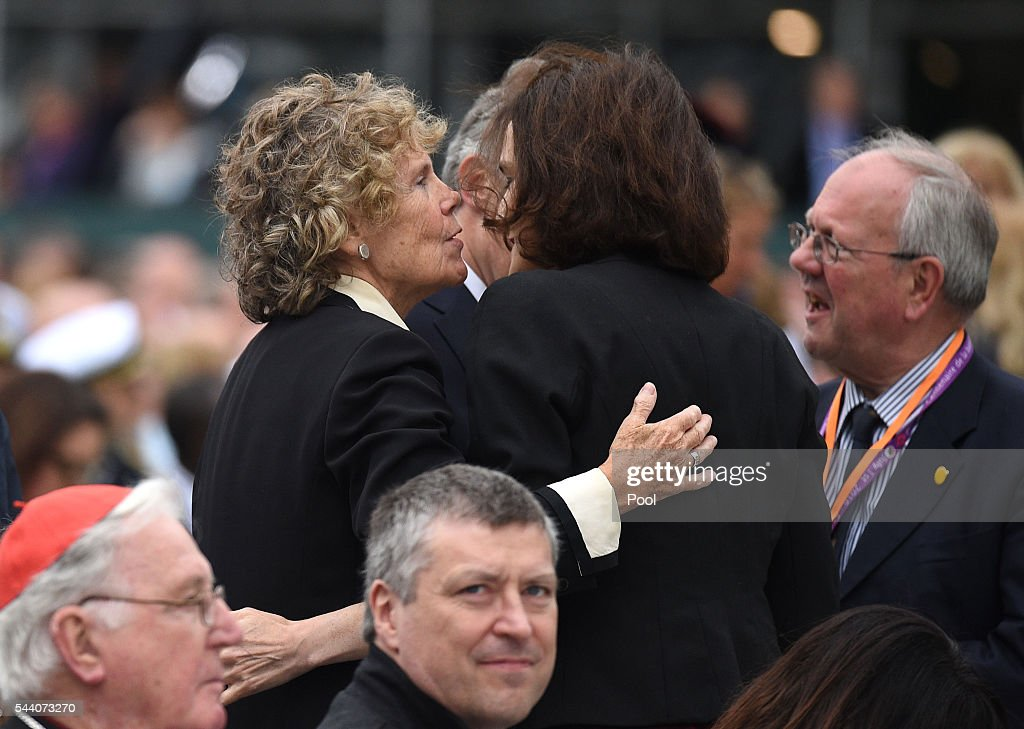 Labour MP <a gi-track='captionPersonalityLinkClicked' href=/galleries/search?phrase=Kate+Hoey&family=editorial&specificpeople=2371024 ng-click='$event.stopPropagation()'>Kate Hoey</a> (L) greets Secretary of State for Northern Ireland <a gi-track='captionPersonalityLinkClicked' href=/galleries/search?phrase=Theresa+Villiers&family=editorial&specificpeople=2122013 ng-click='$event.stopPropagation()'>Theresa Villiers</a> during the Commemoration of the Centenary of the Battle of the Somme at the Commonwealth War Graves Commission Thiepval Memorial on July 1, 2016 in Thiepval, France. The event is part of the Commemoration of the Centenary of the Battle of the Somme at the Commonwealth War Graves Commission Thiepval Memorial in Thiepval, France, where 70,000 British and Commonwealth soldiers with no known grave are commemorated.