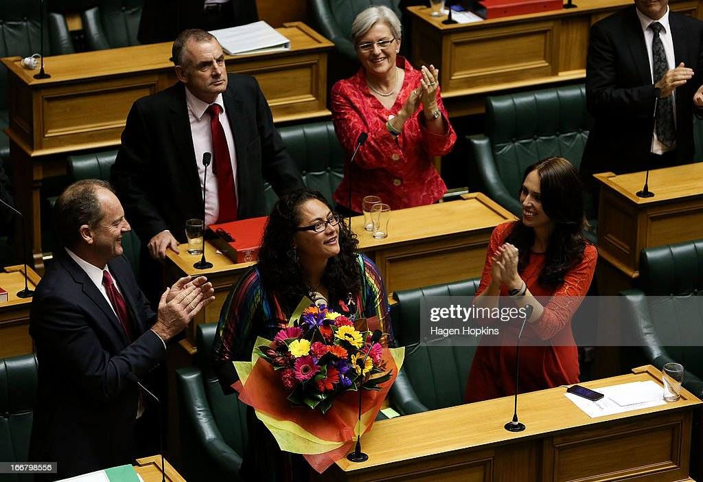 Labour MP Louisa Wall (centre) is applauded by fellow Labour MPs from left, David Shearer, <a gi-track='captionPersonalityLinkClicked' href=/galleries/search?phrase=Trevor+Mallard&family=editorial&specificpeople=632961 ng-click='$event.stopPropagation()'>Trevor Mallard</a>, Maryan Street and Jacinda Ardern after the third reading and vote on the Marriage Equality Bill at Parliament House on April 17, 2013 in Wellington, New Zealand. The Marriage Equality Bill, proposed by Labour MP Louisa Wall, passed the vote by 77 votes to 44 meaning same-sex marriage will now be legal in New Zealand.