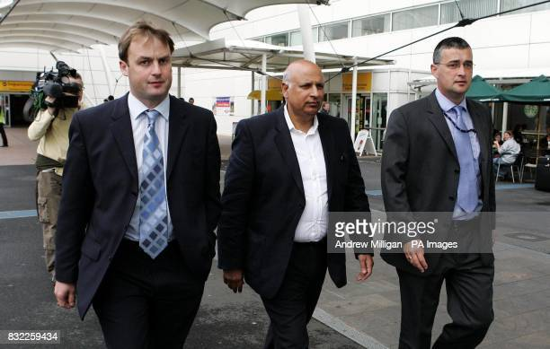 Labour MP Mohammed Sarwar walks with Western Isles Labour MSP Alasdair Morrison and Detective Inspector Gordon Greenlees from Northern Constabulary...