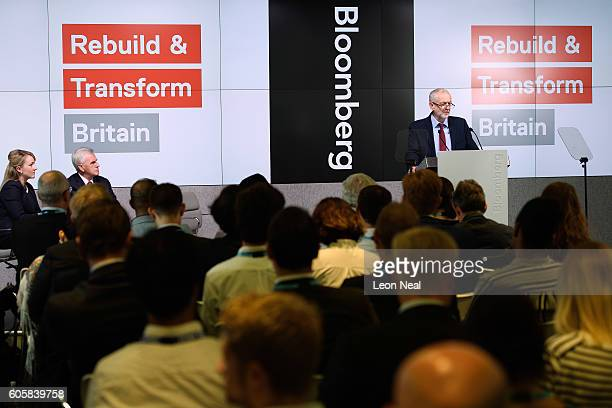 Labour MP Rebecca LongBailey and Shadow Chancellor John McDonnell look on as Labour Party leader Jeremy Corbyn delivers a keynote speech on the...