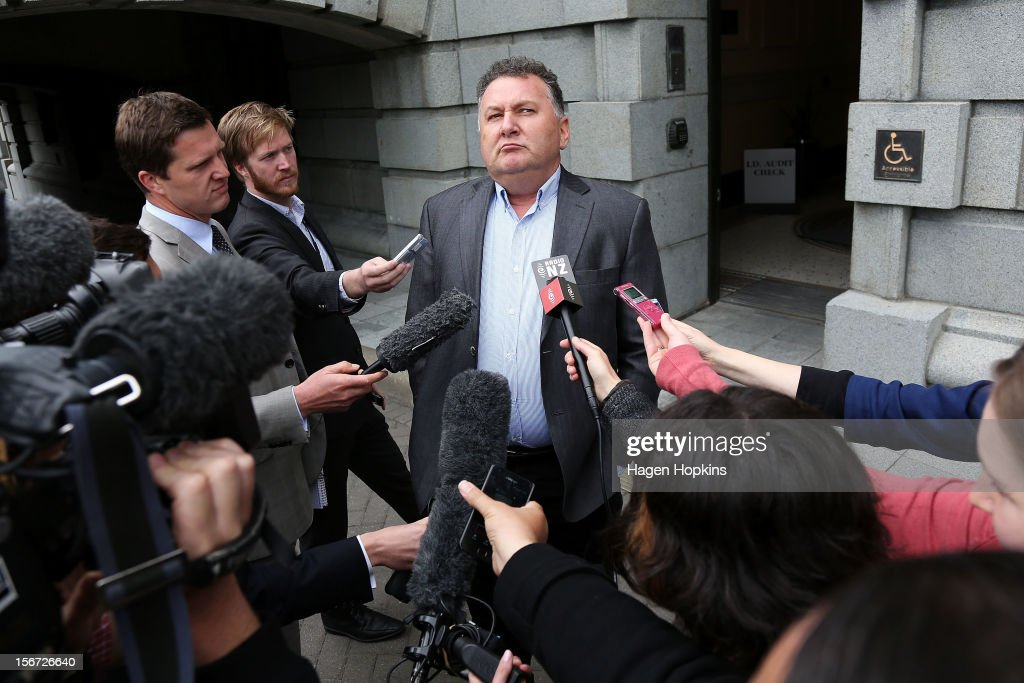 Labour MP Shane Jones speaks to media before a Labour leadership meeting at Parliament on November 20, 2012 in Wellington, New Zealand. Labour party members were called to a leadership vote meeting today after speculation of a leadership challenge by economic development spokesman David Cunliffe.