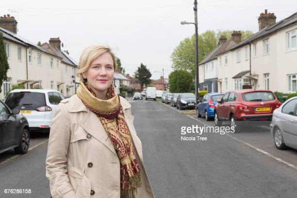 Labour MP Stella Creasey poses as she campaigns in her Walthamstow constituency on April 27 2017 in London England Political parties and candidates...