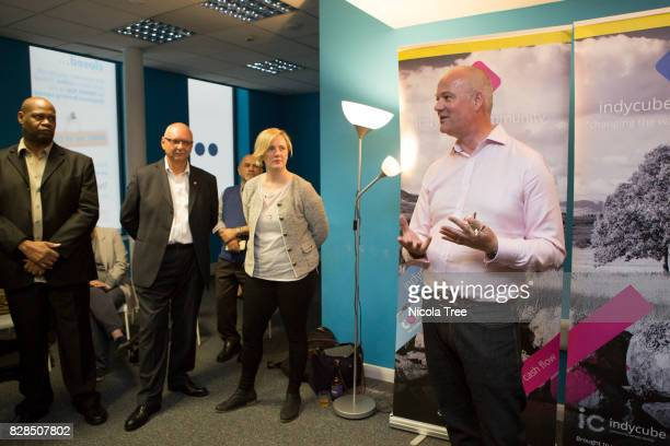 Labour MP Stella Creasy and Mark Hooper CEO of Indycube speaking at the launch of Union for the Self Employed at a new workspace on Hoe Street...