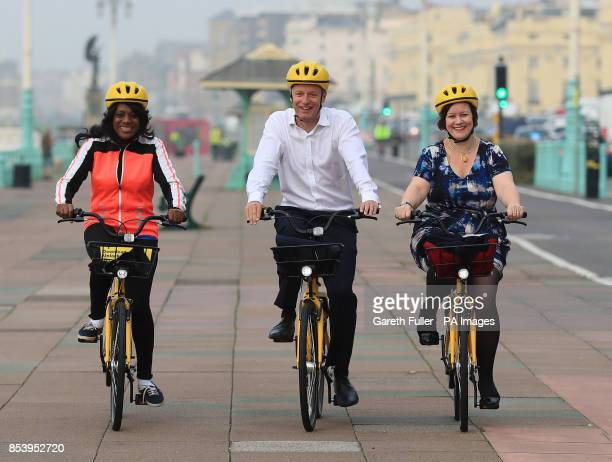 Labour MPs Eleanor Smith Luke Pollard and Meg Hillier cycle along Brighton seafront in aid of the British Heart Foundation