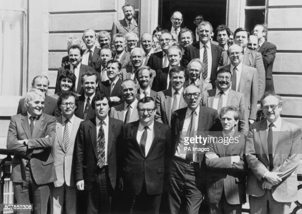 Labour MPs gathered at the party's headquarters in Glasgow From back left to right Denis Canavan David Marshall Brian Wilson Martin O'Neill John Home...