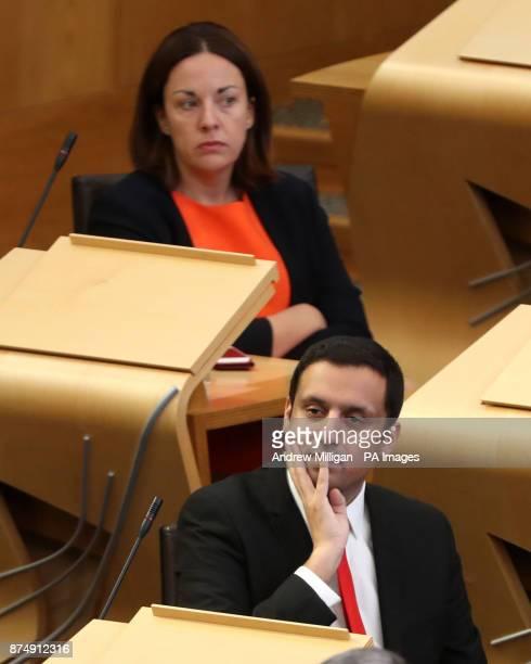 Labour MSPs Anas Sarwar with Kezia Dugdale during FMQs at the Scottish Parliament in Edinburgh