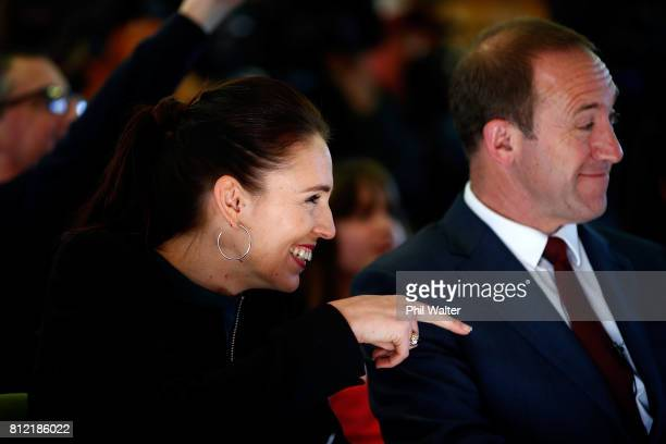 Labour Party deputy leader Jacinda Ardern and leader Andrew Little prepare to announce the party's Families Package at the Leataata O Tupulaga O le...
