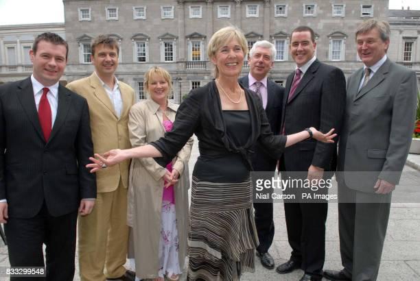 Labour Party deputy leader Liz McManus with newlyelected Senators Alan Kelly Dominic Hannigan Phil Prendergast Alex White Michael McCarthy and...