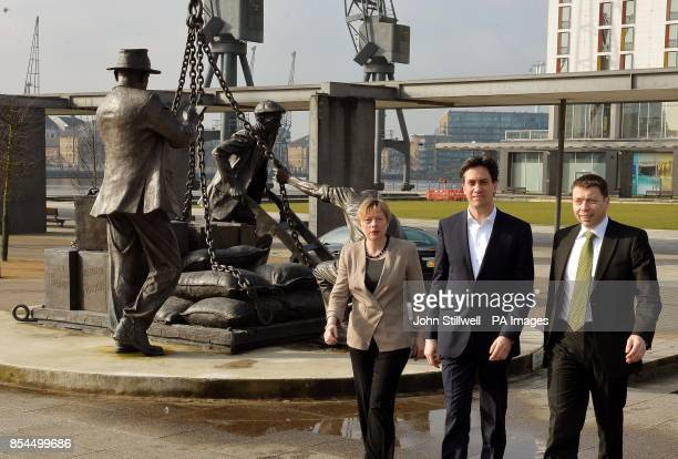 Labour Party Ed Miliband with Angela Eagle and Ian McNicol as he arrives at the ExCel Centre in Docklands in east London for a special conference