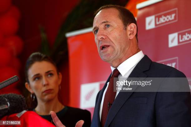 Labour Party leader Andrew Little announces the party's Families Package at the Leataata O Tupulaga O le Pasefika Preschool as deputy leader Jacinda...