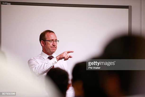 Labour Party Leader Andrew Little speaks with Techtorium students at the New Zealand Insititute of Information Technology in Newmarket on February 2...