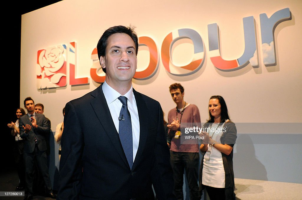 Labour party leader <a gi-track='captionPersonalityLinkClicked' href=/galleries/search?phrase=Ed+Miliband&family=editorial&specificpeople=4376337 ng-click='$event.stopPropagation()'>Ed Miliband</a> arrives on stage to deliver his keynote speech to members and delegates during the annual Labour party conference at the Echo Arena on September 27, 2011 in Liverpool, England. It was <a gi-track='captionPersonalityLinkClicked' href=/galleries/search?phrase=Ed+Miliband&family=editorial&specificpeople=4376337 ng-click='$event.stopPropagation()'>Ed Miliband</a>'s most important speech since becoming Labour leader a year ago and focussed on Britain's 'fast buck' culture, set out his belief that hard workers should be rewarded, and also said 'Labour will always stand as the voice of the people, our people'.