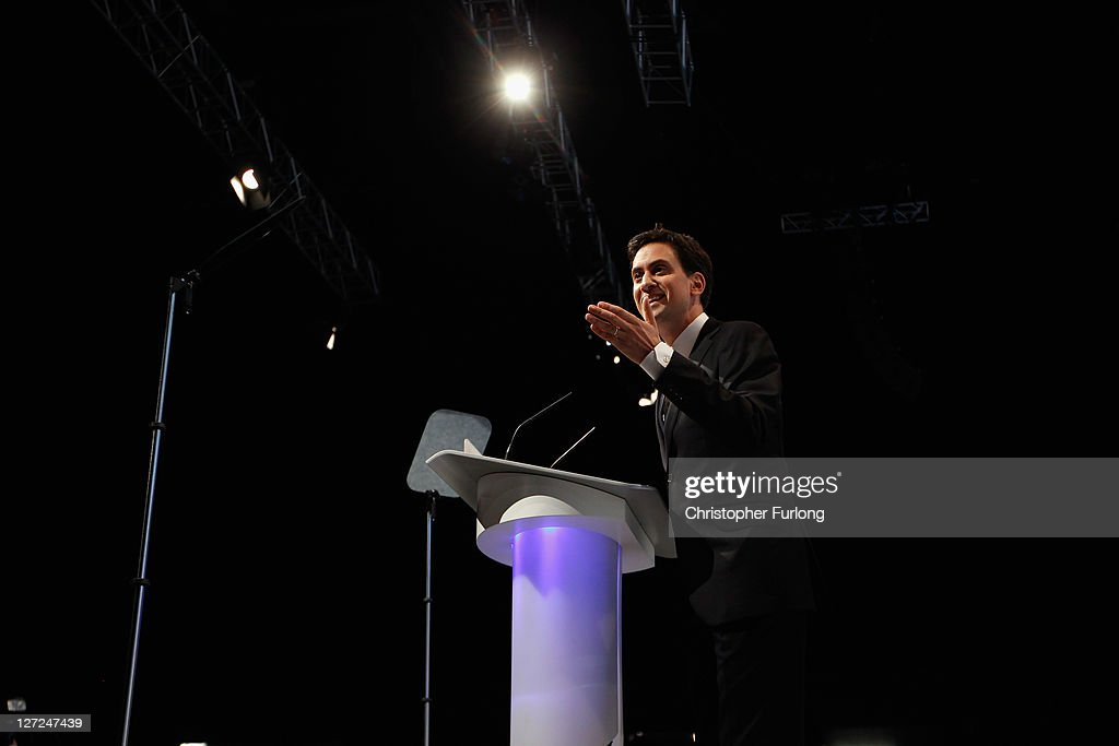 Labour party leader <a gi-track='captionPersonalityLinkClicked' href=/galleries/search?phrase=Ed+Miliband&family=editorial&specificpeople=4376337 ng-click='$event.stopPropagation()'>Ed Miliband</a> delivers his keynote speech to members and delegates during the annual Labour party conference at the Echo Arena on September 27, 2011 in Liverpool, England. It was <a gi-track='captionPersonalityLinkClicked' href=/galleries/search?phrase=Ed+Miliband&family=editorial&specificpeople=4376337 ng-click='$event.stopPropagation()'>Ed Miliband</a>'s most important speech since becoming Labour leader a year ago and focussed on Britain's 'fast buck' culture, set out his belief that hard workers should be rewarded, and also said 'Labour will always stand as the voice of the people, our people'.