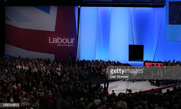 Labour Party leader Ed Miliband delivers his keynote speech to delegates during the annual Labour Party Conference on October 02 2012 in Manchester...