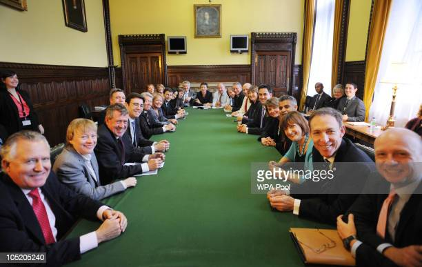 Labour Party leader Ed Miliband holds his first shadow cabinet meeting at the House of Commons on October 12 2010 in London England Shadow Secretary...