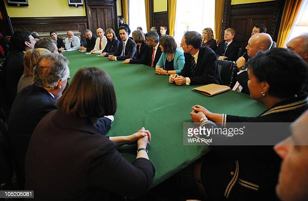 Labour Party Leader Ed Miliband holds his first shadow cabinet meeting in the House of Commons on October 12 2010 in London England Ed Miliband beat...