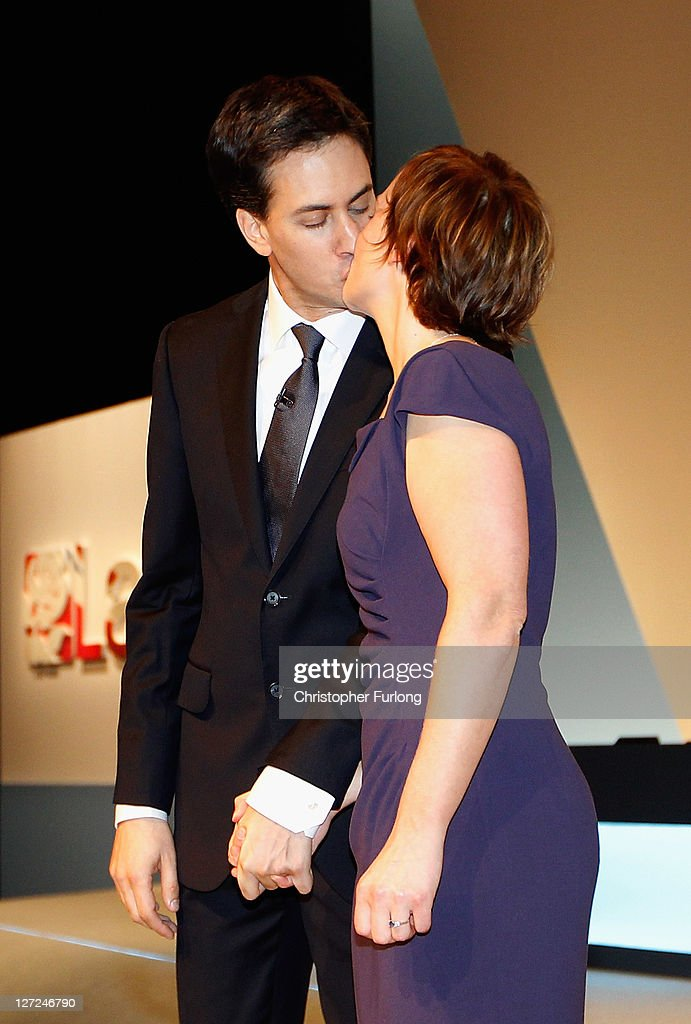 Labour party leader <a gi-track='captionPersonalityLinkClicked' href=/galleries/search?phrase=Ed+Miliband&family=editorial&specificpeople=4376337 ng-click='$event.stopPropagation()'>Ed Miliband</a> kisses his wife Justine after his keynote speech to members and delegates during the annual Labour party conference at the Echo Arena on September 27, 2011 in Liverpool, England. It was <a gi-track='captionPersonalityLinkClicked' href=/galleries/search?phrase=Ed+Miliband&family=editorial&specificpeople=4376337 ng-click='$event.stopPropagation()'>Ed Miliband</a>'s most important speech since becoming Labour leader a year ago and focussed on Britain's 'fast buck' culture, set out his belief that hard workers should be rewarded, and also said 'Labour will always stand as the voice of the people, our people'.