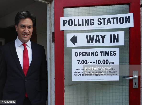 Labour Party leader Ed Miliband leaves the polling station at Sutton Village Hall in Sutton after casting his vote in the 2015 general election on...