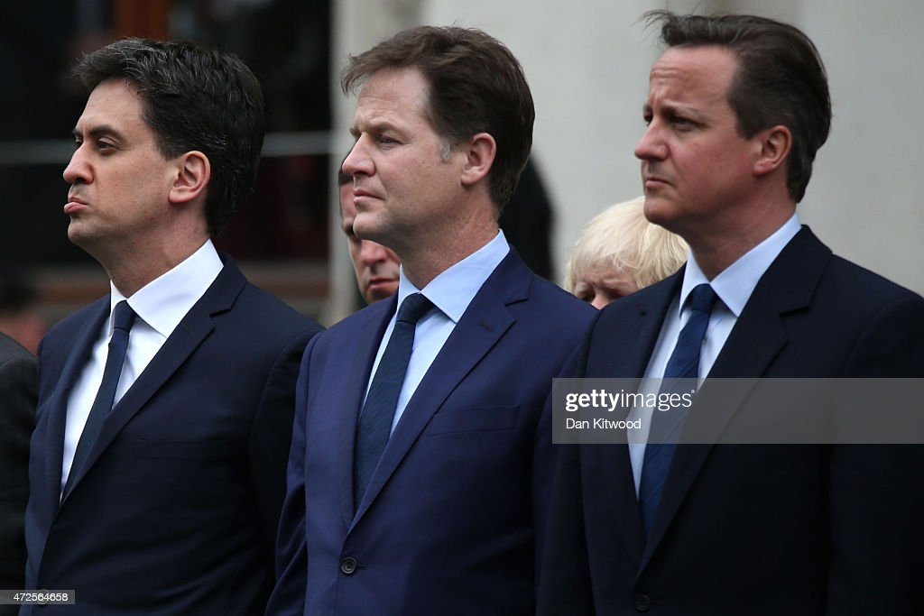 Labour Party leader Ed Miliband, Liberal Democrat leader Nick Clegg and Prime Minister David Cameron prepare to attend a tribute at the Cenotaph to begin three days of national commemorations to mark the 70th anniversary of VE Day on May 8, 2015 in London, England. Leaders of the United Kingdom are gathering together after the country went to the polls yesterday and voted to keep Conservative party leader David Cameron as Prime Minister. Great Britain now starts three days of national commemorations of street parties, concerts and other events across the country to remember the end of World War II in Europe.